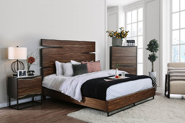 Furniture of America Fulton Walnut 2pc Bedroom Set with Cal King Bed FOA-CM7363CK-BR-S1