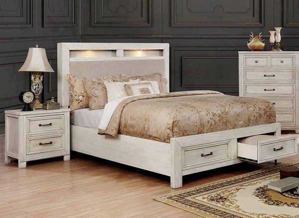 Furniture of America Tywyn White 2pc Bedroom Set with Queen Bed FOA-CM7365WH-Q-BR-S3