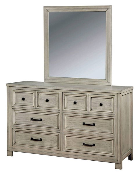 Furniture of America Tywyn Antique White Dresser and Mirror FOA-CM7365WH-DRMR