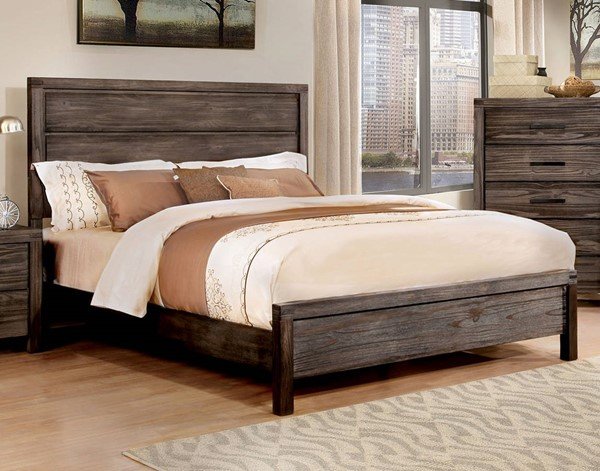 Rexburg Rustic Dark Gray Solid Wood Queen Bed FOA-CM7382Q-BED