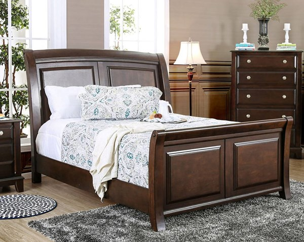 Litchville Transitional Brown Cherry Solid Wood King Bed FOA-CM7383EK-BED