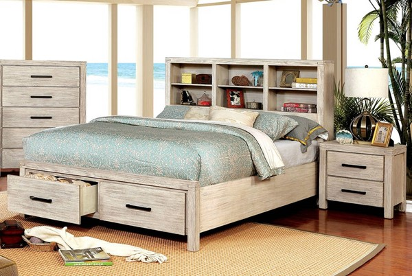 Furniture of America Strasburg White 2pc Bedroom Set with Queen Bed FOA-CM7384WH-Q-BR-S3