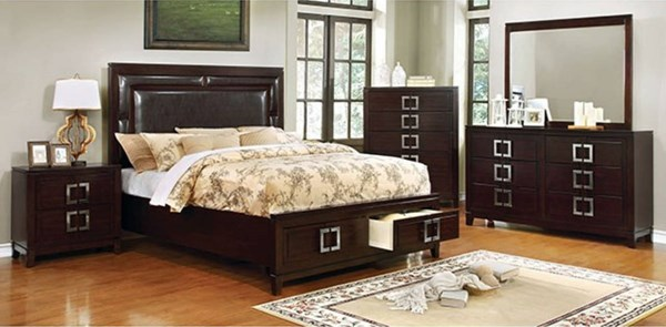Balfour Transitional Brown Cherry Solid Wood Master Bedroom Set FOA-CM7385-BR