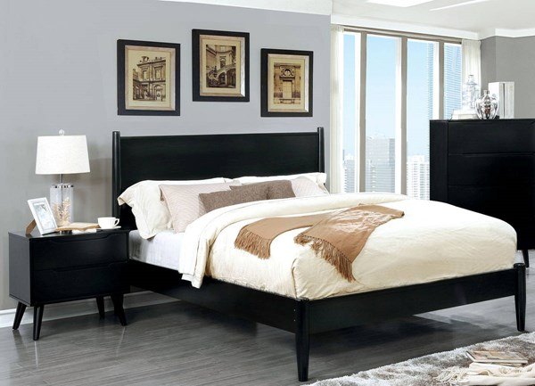 Furniture of America Lennart II Black 2pc Bedroom Set with Queen Bed FOA-CM7386BK-Q-BR-S1