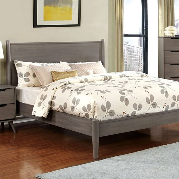 Lennart Modern Gray Solid Wood Veneer Cal King Bed FOA-CM7386GY-CK-BED