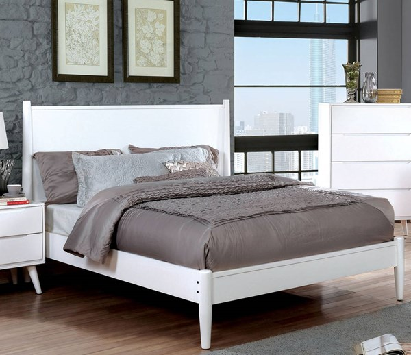 Lennart II Modern White Solid Wood Veneer Queen Bed FOA-CM7386WH-Q-BED