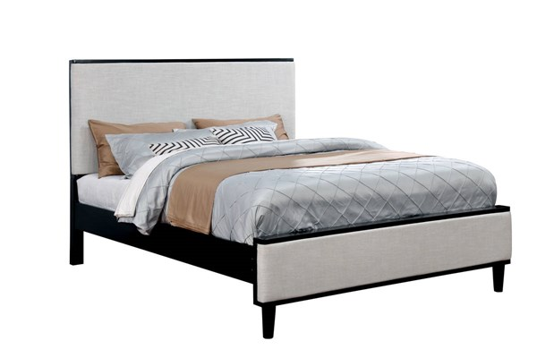 Lennart II Modern White Fabric Black Solid Wood Veneer Beds FOA-CM7387BK-BED-VAR
