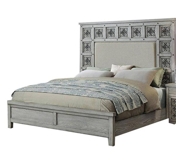 Furniture of America Pantaleon Light Gray Cal King Bed FOA-CM7392CK-BED