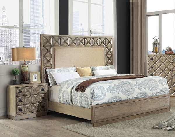 Furniture of America Markos Light Oak 2pc Bedroom Set with Queen Bed FOA-CM7393Q-BR-S3