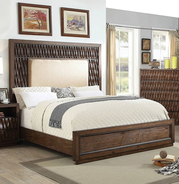 Furniture of America Eutropia Fabric King Bed FOA-CM7395EK-BED