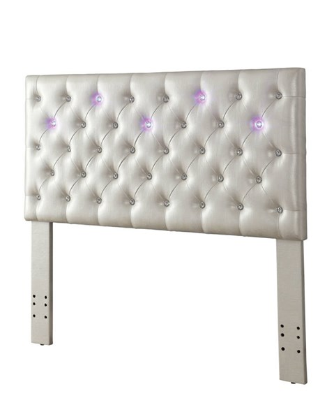 Bellatrix Contemporary White Fabric Solid Wood Queen/Full Headboard FOA-CM7405WH-HB-FQ