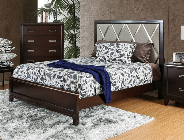Winnifred Contemporary Cherry Fabric Solid Wood King Bed FOA-CM7412EK-BED