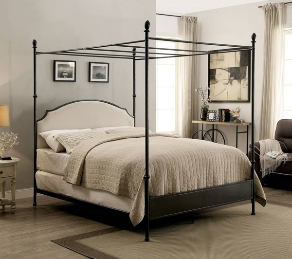 Sinead Transitional Gun Metal Fabric Canopy Beds FOA-CM7420-CBED-VAR