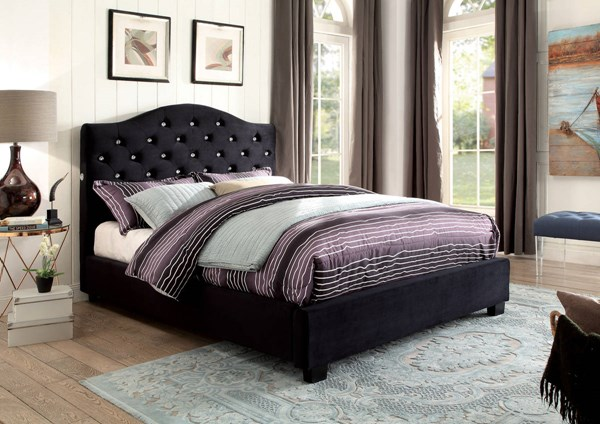 Betelgeuse Contemporary Black Flannelette Solid Wood King Bed FOA-CM7421BK-EK-BED