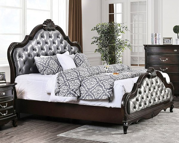 Furniture of America Bethesda Espresso Silver Cal King Bed FOA-CM7426CK-BED