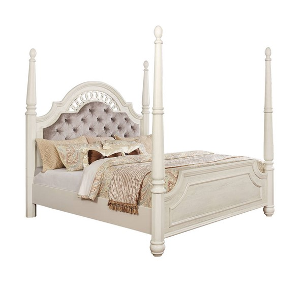 Furniture of America Fantasia Antique White King Bed FOA-CM7427EK-BED