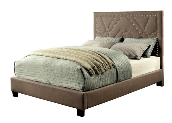 Marianne Contemporary Light Brown Fabric Solid Wood King Bed FOA-CM7433BR-EK-BED