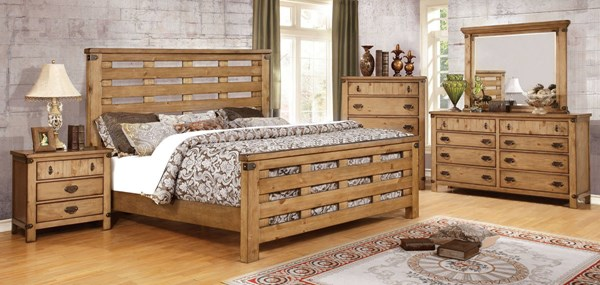 Avantgarde Transitional Weathered Elm Solid Wood Beds FOA-CM7448-BED-VAR