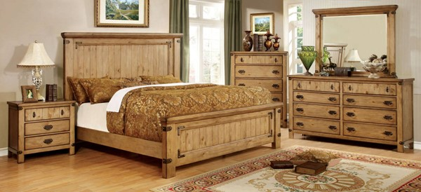 Pioneer Transitional Burnished Pine Solid Wood Veneer Queen Bed FOA-CM7449Q-BED