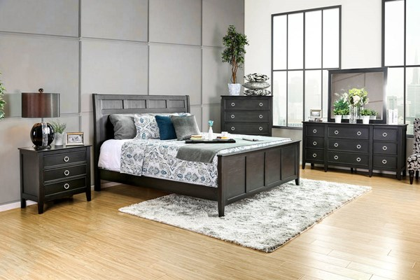 Arabelle Transitional Wire Brushed Black Solid Wood Queen Bed FOA-CM7481Q-BED