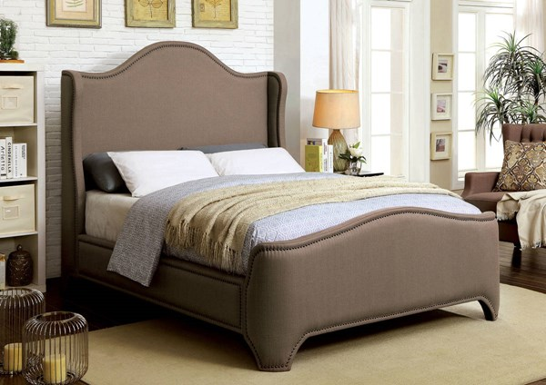Rebecca Contemporary Brown Fabric Solid Wood Cal King Bed FOA-CM7516CK-BED