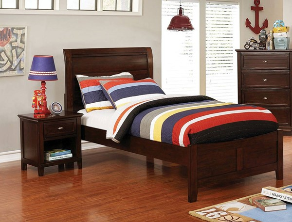 Furniture of America Brogan Cherry 2pc Bedroom Set with Twin Bed FOA-CM7517CH-T-BR-S2