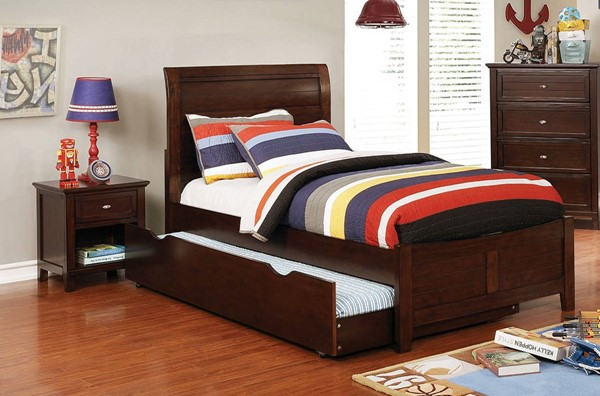 Furniture of America Brogan Cherry 2pc Bedroom Set with Twin Trundle Bed FOA-CM7517CH-T-TR-BR-S4
