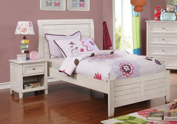 Furniture Of America Brogan Antique White 2pc Bedroom Set With Twin Bed FOA-CM7517WH-T-BR-S2