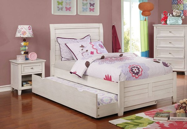 Furniture Of America Brogan Antique White 2pc Bedroom Set With Full Trundle Bed FOA-CM7517WH-F-TR-BR-S3