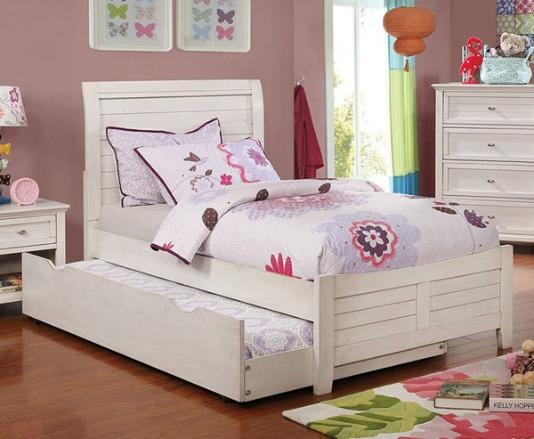 Furniture Of America Brogan Antique White Full Trundle Bed FOA-CM7517WH-F-TR-BED
