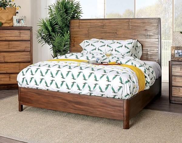 Furniture of America Covilha Antique Brown King Bed FOA-CM7522EK-BED