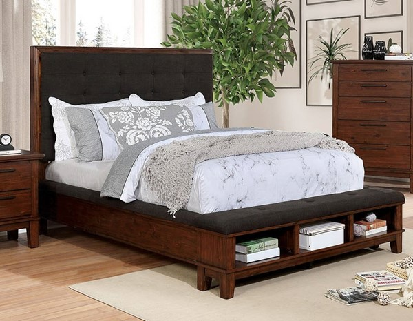 Furniture of America Knighton Dark Brown Cherry Cal King Bed FOA-CM7528CK-BED