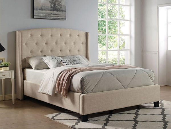 Furniture of America Aliza Beige Fabric Cal King Bed FOA-CM7531BG-CK-BED