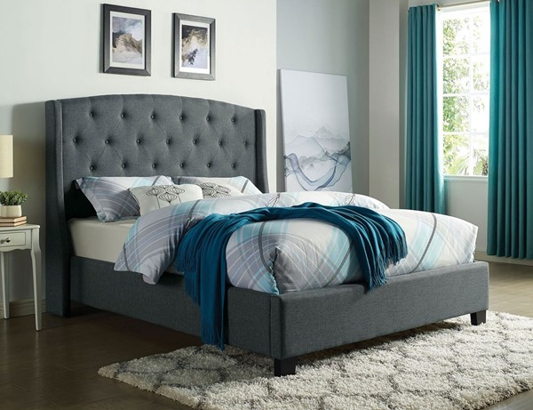 Furniture of America Aliza Gray Fabric Cal King Bed FOA-CM7531GY-CK-BED