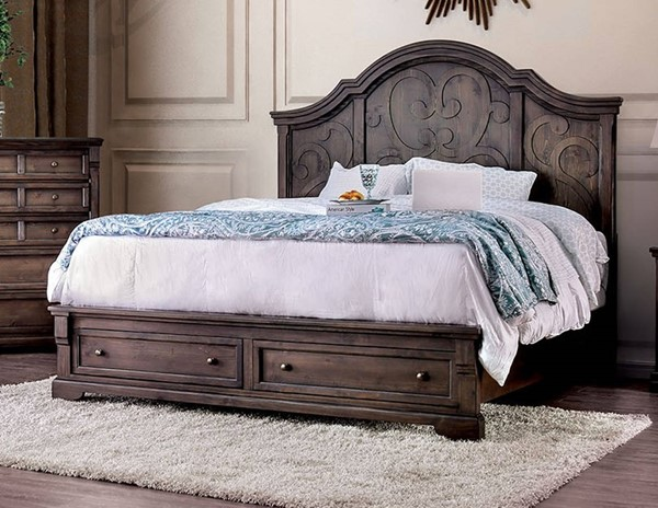 Furniture of America Amadora Walnut Queen Drawer Bed FOA-CM7533Q-BED