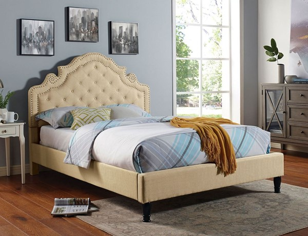 Furniture of America Aubree Beige Fabric Queen Bed FOA-CM7537BG-Q-BED