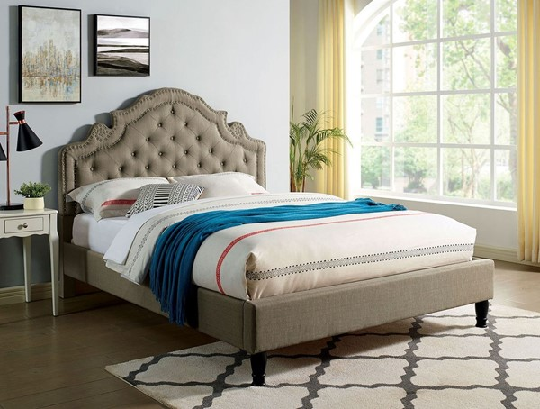 Furniture of America Aubree Gray Fabric Cal King Bed FOA-CM7537GY-CK-BED