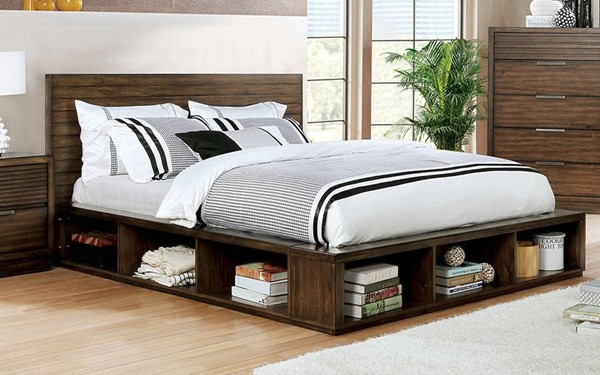 Furniture of America Torino Walnut Cal King Storage Bed FOA-CM7543CK-BED