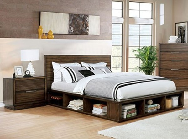 Furniture of America Torino Walnut 2pc Bedroom Set with Queen Storage Bed FOA-CM7543Q-BR-S3