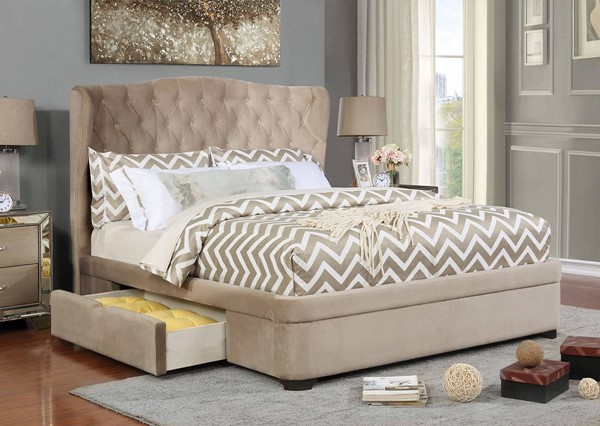 Furniture of America Aoife Taupe King Bed FOA-CM7544EK-BED