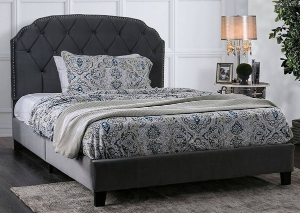 Furniture of America Osnabrock Gray Upholstered Cal King Bed FOA-CM7546CK