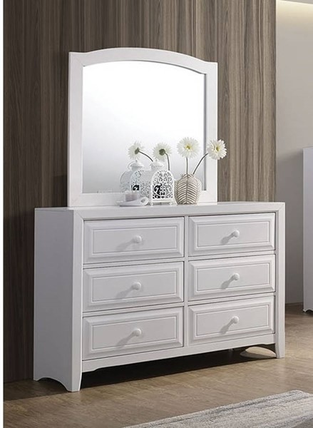 Furniture of America Kirsten White Dresser and Mirror FOA-CM7547WH-DRMR