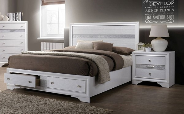 Furniture Of America Chrissy White 2pc Bedroom Set with Queen Drawer Bed FOA-CM7552Q-BR-S2