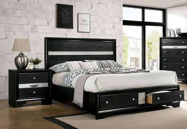 Furniture Of America Chrissy Black 2pc Bedroom Set with King Bed FOA-CM7552BK-BR-S2