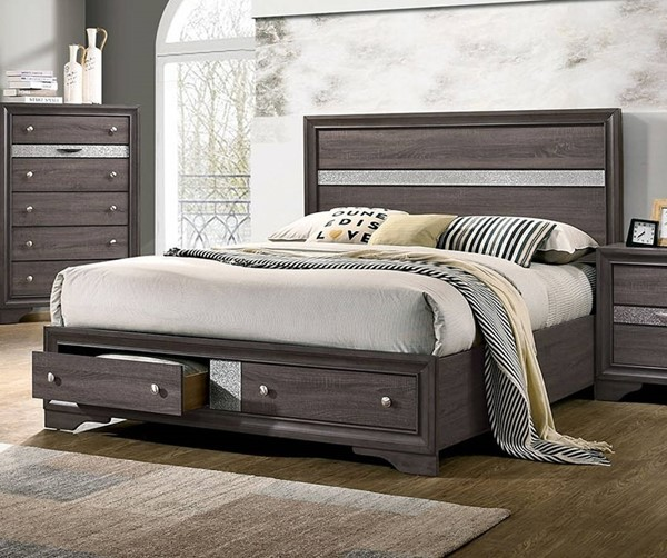 Furniture Of America Chrissy Gray King Drawer Bed FOA-CM7552GY-EK-BED