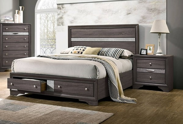 Furniture Of America Chrissy Gray 2pc Bedroom Set with Queen Drawer Bed FOA-CM7552GY-Q-BR-S2