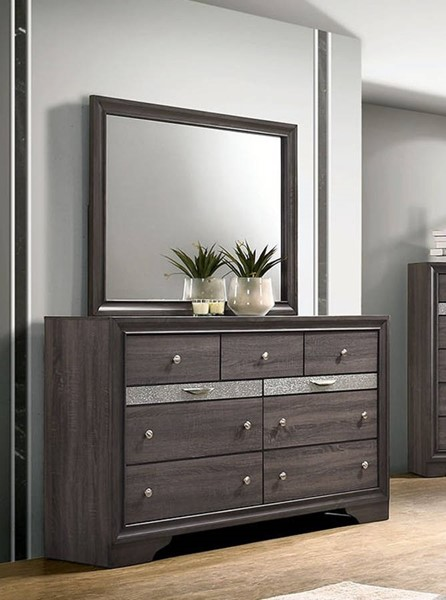 Furniture Of America Chrissy Gray Dresser and Mirror FOA-CM7552GY-DRMR