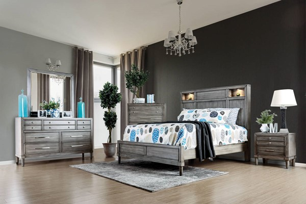 Daphne Transitional Gray Solid Wood Queen Bed FOA-CM7556Q-BED