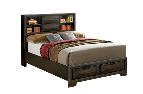 Nikomedes Contemporary Espresso Wood Veneer Cal King Bed FOA-CM7557CK-BED