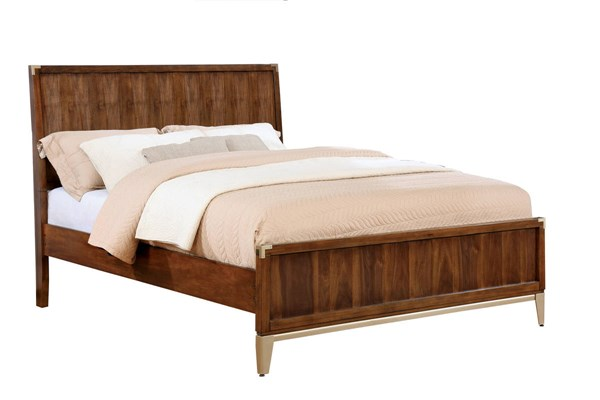 Tychus Transitional Dark Oak Wooden Headboard King Bed FOA-CM7559EK-BED